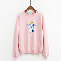 Women's Korea Harajuku Autumn Cute Sailor Moon Baby Cartoon Long Sleeve Loose Girls Tracksuit Pink Sweatshirt