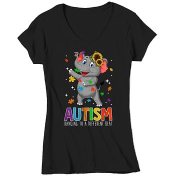 Women's V-Neck Autism Elephant T Shirt Dancing To Different Beat Autism Shirt Cute Autism T Shirt Autism Awareness Shirt
