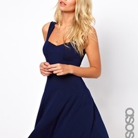 ASOS TALL Sleeveless Skater Dress With Sweetheart Neck at asos.com