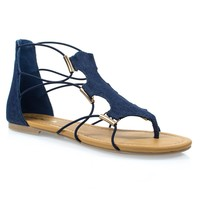 ImpactD Blue Jean Denim Gladiator Open Toe Flat Sandal w Elastic Cord String & Metal Detail