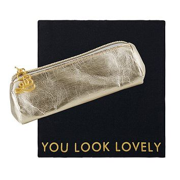 You Look Lovely Mini Zip Case w/ Cloth in Champagne Gold | Perfect for Earbuds, Lip Products, Etc.