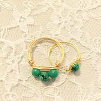 Three Stone Turquoise Wire-Wrapped Ring