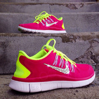 Women's Nike Free Run 5.0+ Running Training Jogging Shoes 580591-406 Custom Swarovski Elements Crystal Rhinestones Pink White Green Yellow