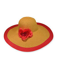Nine West Packable Floppy Hat with Flower Accent