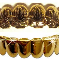 Hip Hop 14K Gold Plated Removeable Mouth Grillz Set (Top & Bottom) Marijuana Leaf