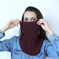 FREE SHIPPING Cozy scarf Chunky knit cowl Red neck warmer Cable knit cowl Wool Claret Infinity cowl Hand knit neck warmer Tube cowl snood
