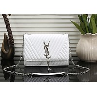 YSL Fashion Tassel Women Shopping Bag Leather Handbag Tote Satchel Shoulder Bag White I-OM-NBPF
