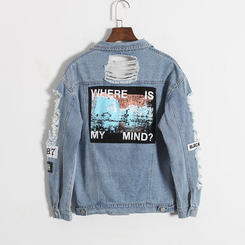Vintage Wash Water Distrressed Denim Jacket