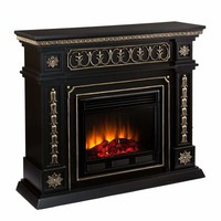 Exotic Black Donovan Electric Fireplace with Golden Accents by Southern Enterprises