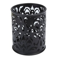 Metal Pen Holder Pen Pot Hollow Flower Pattern Round
