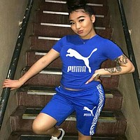 PUMA Women's casual letter printed sports two-piece suit blue