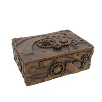5 Inch Steampunk Mechanical Inspired Jewelry/Trinket Box Figurine
