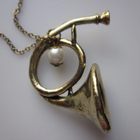 French Horn Charm Necklace with Pearl Accent