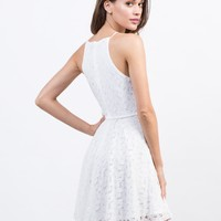 Belted Flared Lace Dress