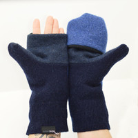 Men's Convertible Mittens in Blue and Navy - Recycled Wool - Fleece Lined