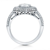 Heart Shaped Cubic Zirconia CZ 925 Sterling Silver Halo Ring 1.13 ct #r655