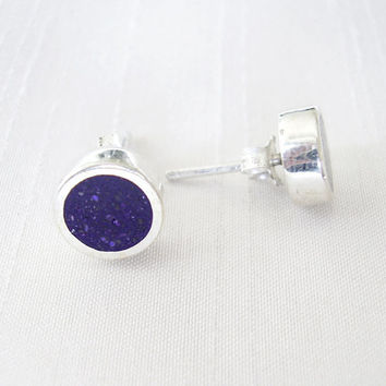 Round Circle Purple Stud Earrings in Sterling Silver and Pigments - Ear Studs Purple Colour - Indigo Dot - Violet Purple Indigo and Silver