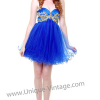 Royal Blue Sweet Pea Strapless Rhinestone Short Dress - Unique Vintage - Cocktail, Pinup, Holiday & Prom Dresses.