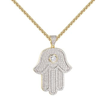 Solitaire Hamsa Hand Pendant 14k Gold Finish Chain Simulated Diamonds