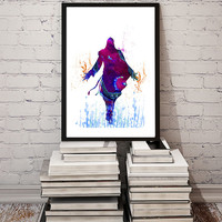 Ezio Assassin's Creed video game Watercolor Print Fine Art illustrations Wall Art Giclee Poster Wall Hanging Art Home Decor