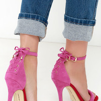 Chinese Laundry Jealous Suede Fuchsia Lace-Up Heels