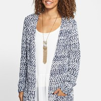 Junior Women's Woven Heart Oversize Marled Open Cardigan