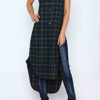 Flawless Flannel Duster Navy