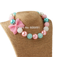 1Pc New Arrival Bow Jewelry Chunky Beads Necklace Little Girl Princess Bubblegum Necklace Kids Necklace for Party Dress Up