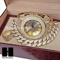 TECHNO KING ICED SET RAPPER 14K GOLD WATCH CUBAN BRACELET RING SET L17