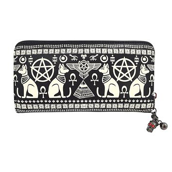 Lost Queen Anubis Gothic Egyptian Cat Pyramid Occult Goth Zip Around Wallet