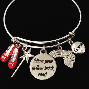 Follow Your Yellow Brick Road Adjustable Bracelet Expandable Silver Bangle Trendy Inspirational Jewelry Message Jewelry Rainbow Courage Ruby Slippers Magic Wand