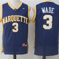 Best Sale Online NCAA University Basketball Jersey Marquette Golden Eagles # 3 Dwyane Wade