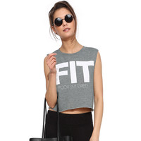 Grey Fit F*** I'm Tired Print Slevee Less Cropped Top