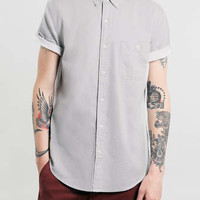 Grey Short Sleeve Shirt With Contrast turn up