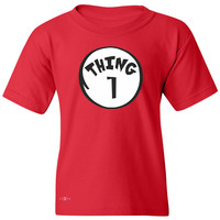 Thing 1 Youth T-shirt Dr. Seuss Cat In The Hat Halloween 1 2 Dad Mom Costume Tee