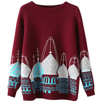 Castle Print Round Neck Ribbed Knit Sweater