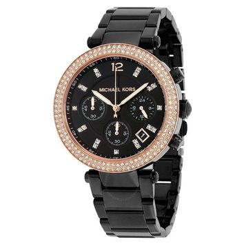 NEW MICHAEL KORS Parker Chronograph Black Dial Ladies Watch 275$
