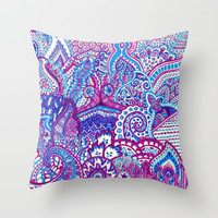 paisley love Throw Pillow by Pink Berry Patterns