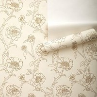 Inked Peonies Wallpaper by Anthropologie in Ivory Size: One Size Decor