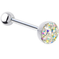 Aurora Ferido Gem Dome Austrian Crystal Barbell Tongue Ring | Body Candy Body Jewelry
