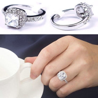 Pure Elegant Women's Shine Engagement Crystal Full Zircon Jewelry Ring Gift Size 6 7 8 9 10 = 1931913220