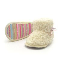 New Newborn Baby Flock Warm Pre-walker Shoes Infant Boy Girl Toddler Soft Soled First Walker NW