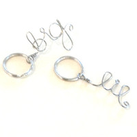 big and lil' sister keychain set; stainless steel wire sorority sister