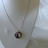 Pancreatic Cancer Ribbon Silver Hope Necklace/Domestic Violence, Alzheimer's, Cystic Fibrosis, Lupis