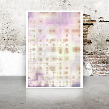 Abstract Generative Art Dividing Bubbles and Boxes, lavender, pink, and yellow Giclee print, geeky wall art. Limited Edition growthBoxes_9n