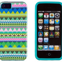 DandyCase 2in1 Hybrid High Impact Hard Mint Green & Pink Aztec Tribal Pattern + Teal Silicone Case Cover For Apple iPhone 5S & iPhone 5 (not 5C) + DandyCase Screen Cleaner