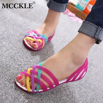 Women Jelly Shoes Rainbow Summer Sandals Flat Shoes Ladies Slip On Woman Candy Color Peep Toe Women Beach Shoes
