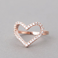 ROSE GOLD HEART RING CZ HEART RING ENGAGEMENT HEAT SHAPED RING HEART