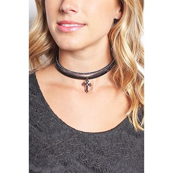 BLACK CROSS LEATHER CHAIN CHOKER NECKLACE