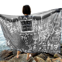 Harry Potter Hogwarts Scarf The Marauder's Map - Black